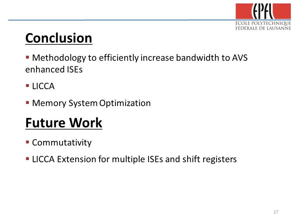 Conclusion  Methodology to efficiently increase bandwidth to AVS enhanced ISEs  LICCA  Memory System Optimization Future Work  Commutativity  LIC