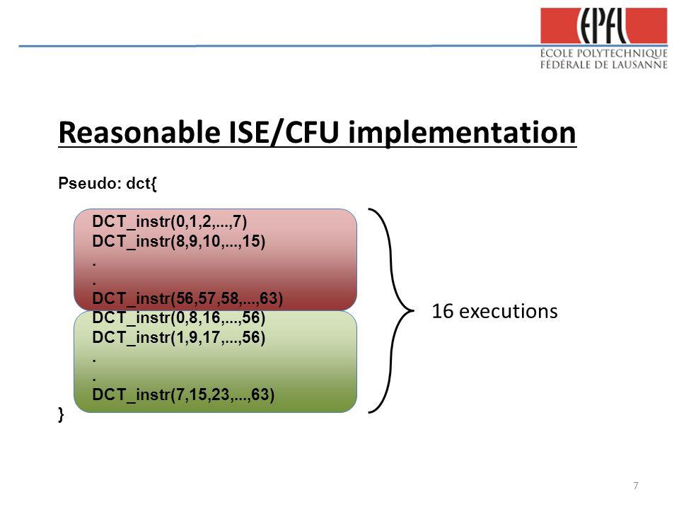 Reasonable ISE/CFU implementation Pseudo: dct{ DCT_instr(0,1,2,...,7) DCT_instr(8,9,10,...,15). DCT_instr(56,57,58,...,63) DCT_instr(0,8,16,...,56) DC