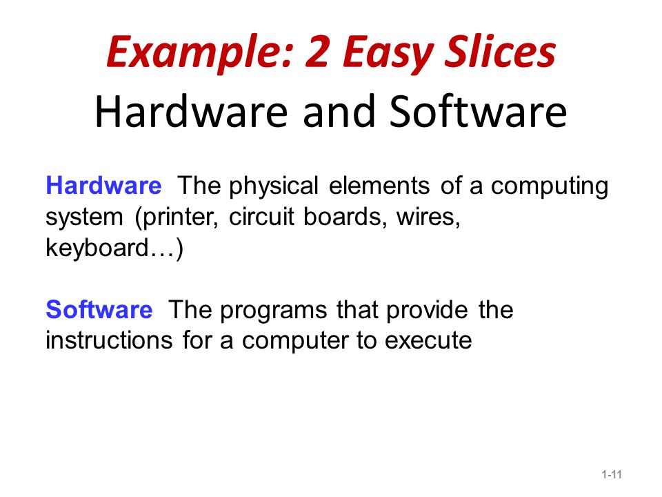 Example: 2 Easy Slices Hardware and Software 1-11 3 Hardware The physical elements of a computing system (printer, circuit boards, wires, keyboard…) Software The programs that provide the instructions for a computer to execute