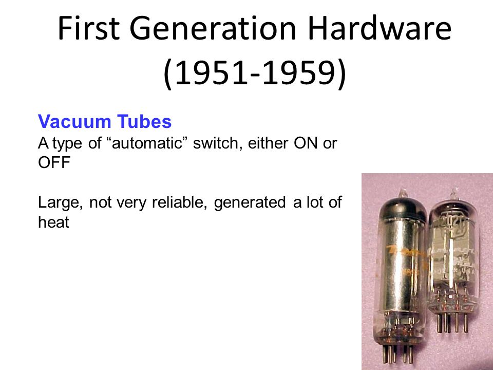 First Generation Hardware (1951-1959) 1-25 8 Vacuum Tubes A type of automatic switch, either ON or OFF Large, not very reliable, generated a lot of heat
