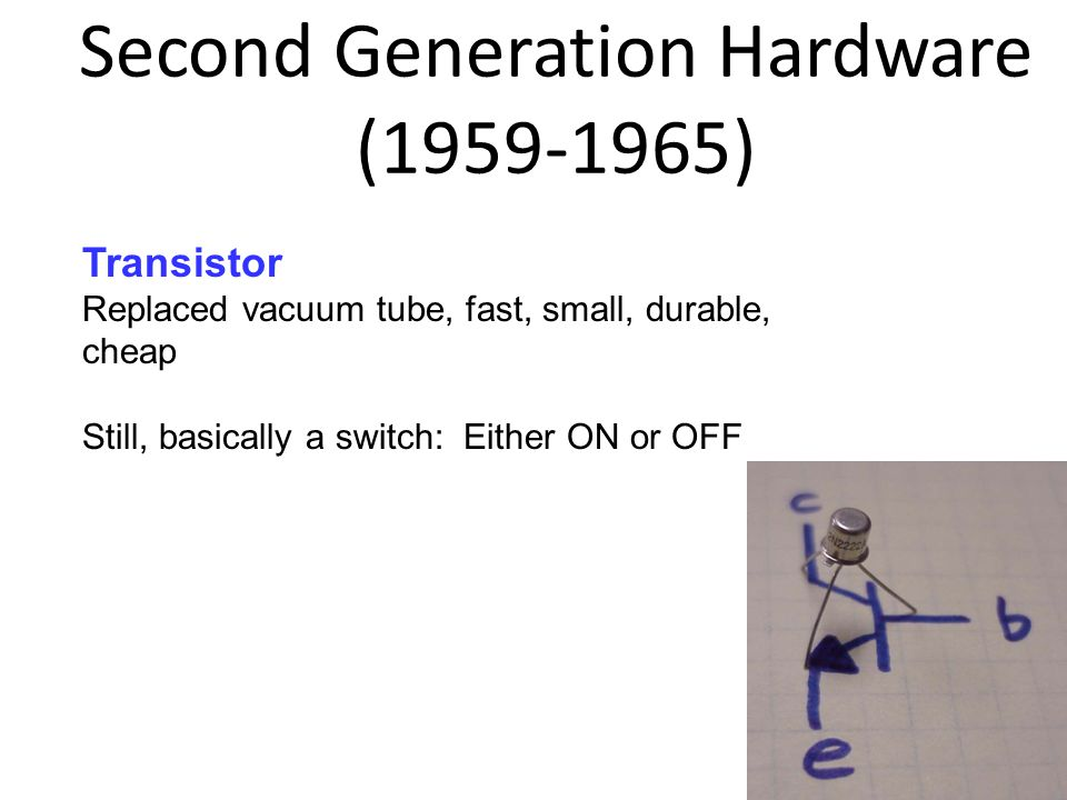 Second Generation Hardware (1959-1965) 1-26 9 Transistor Replaced vacuum tube, fast, small, durable, cheap Still, basically a switch: Either ON or OFF