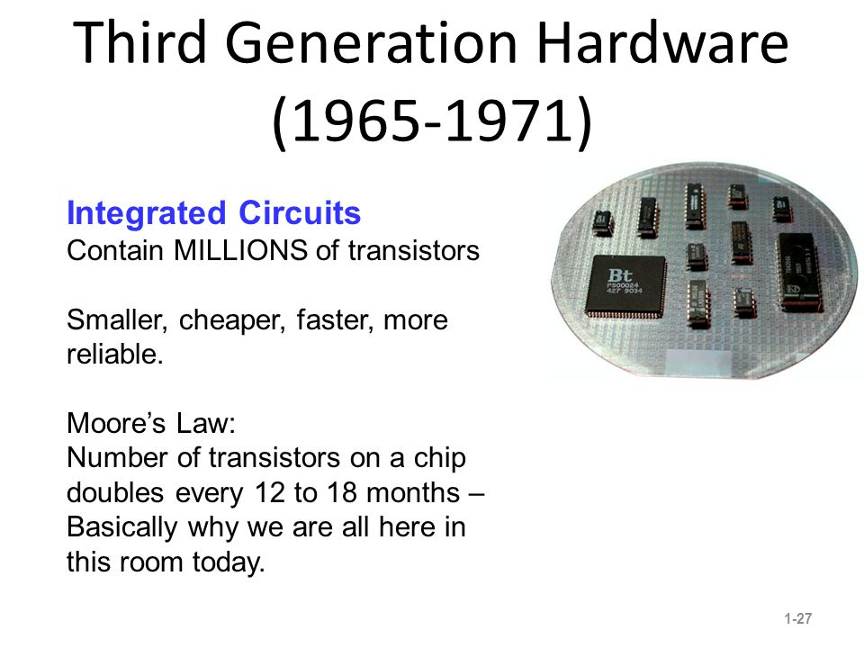 Third Generation Hardware (1965-1971) 1-27 10 Integrated Circuits Contain MILLIONS of transistors Smaller, cheaper, faster, more reliable.