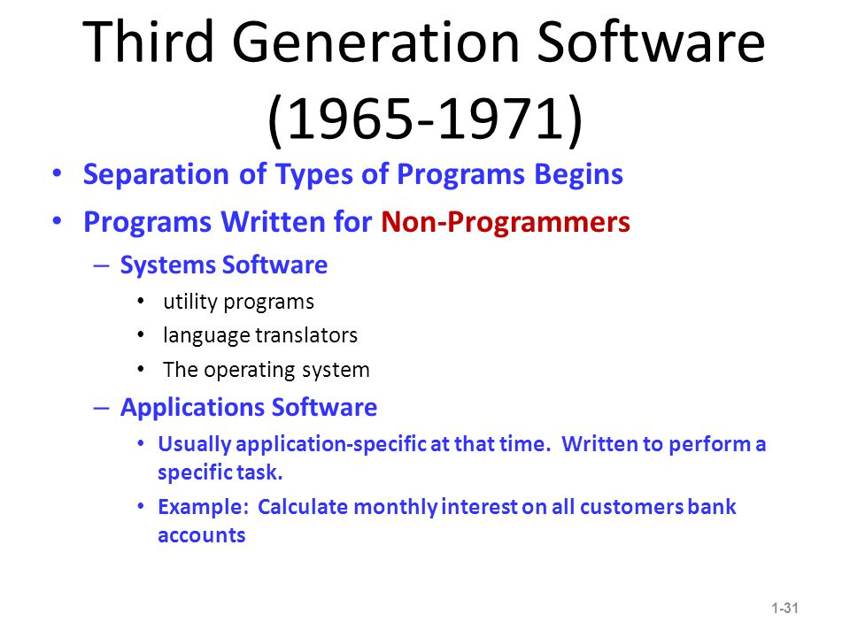 Third Generation Software (1965-1971) Separation of Types of Programs Begins Programs Written for Non-Programmers – Systems Software utility programs language translators The operating system – Applications Software Usually application-specific at that time.