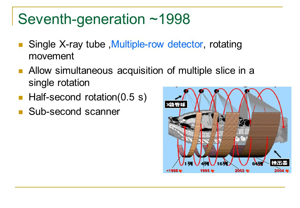 Seventh-generation ~1998 Single X-ray tube,Multiple-row detector, rotating movement Allow simultaneous acquisition of multiple slice in a single rotation Half-second rotation(0.5 s) Sub-second scanner