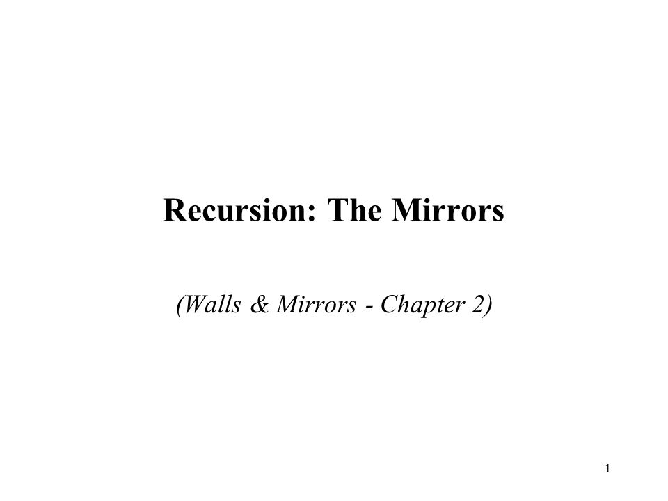 1 Recursion: The Mirrors (Walls & Mirrors - Chapter 2)