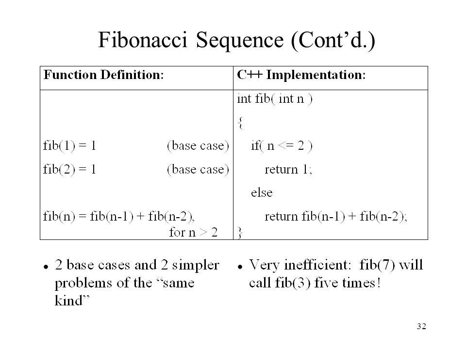 32 Fibonacci Sequence (Cont'd.)