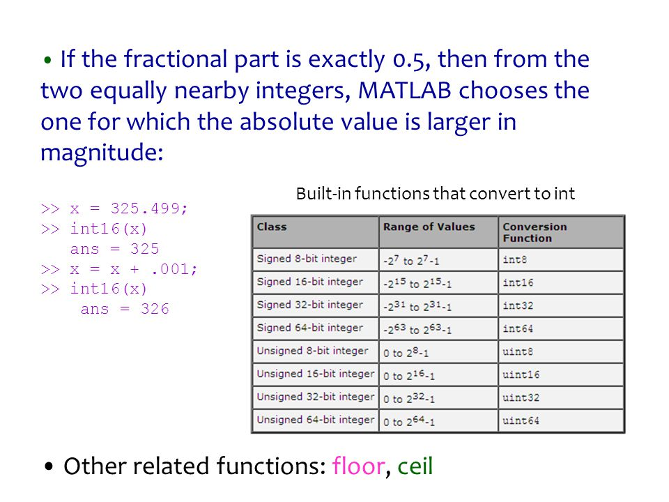 If the fractional part is exactly 0.5, then from the two equally nearby integers, MATLAB chooses the one for which the absolute value is larger in mag