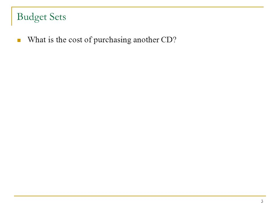 3 Budget Sets What is the cost of purchasing another CD?