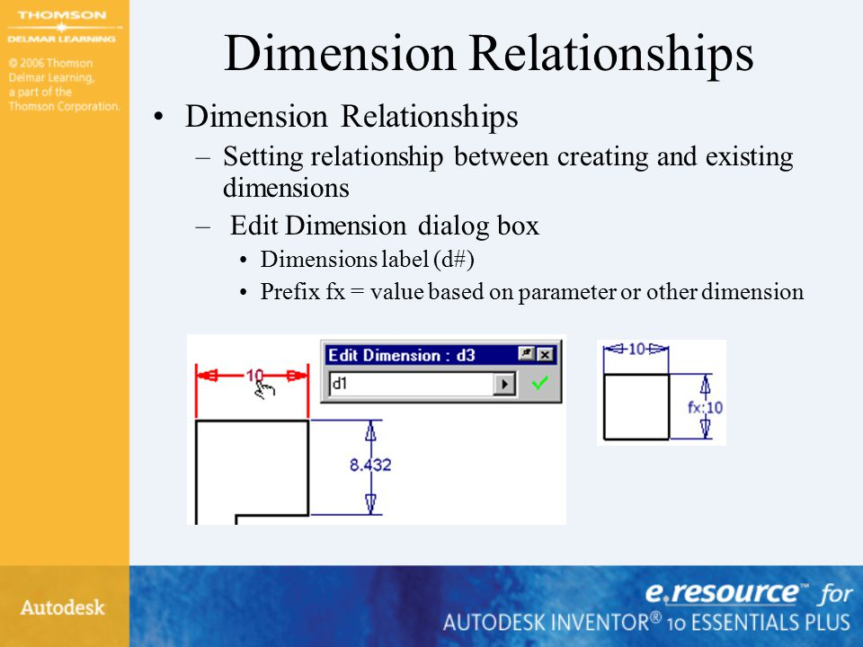 Dimension Relationships –Setting relationship between creating and existing dimensions – Edit Dimension dialog box Dimensions label (d#) Prefix fx = value based on parameter or other dimension