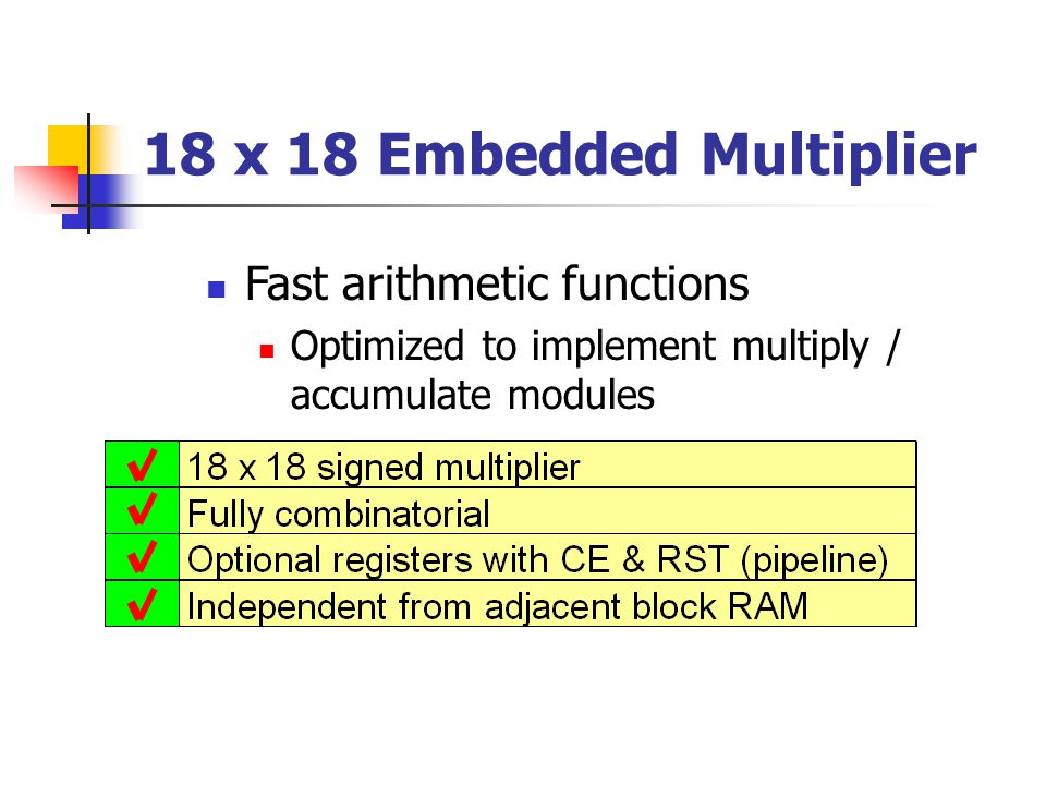 18 x 18 Embedded Multiplier Fast arithmetic functions Optimized to implement multiply / accumulate modules