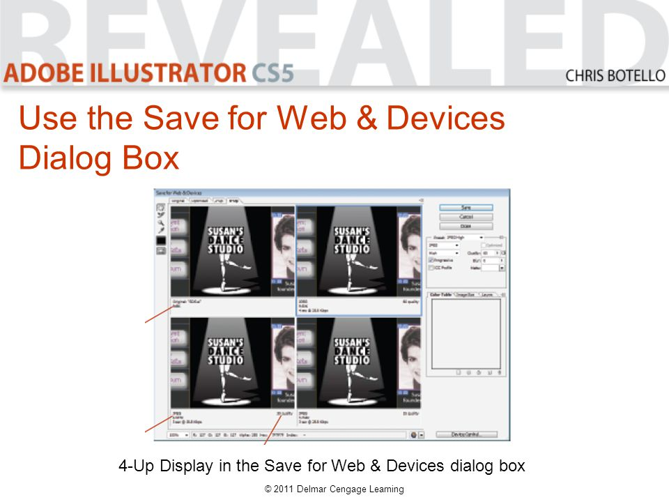 4-Up Display in the Save for Web & Devices dialog box Use the Save for Web & Devices Dialog Box © 2011 Delmar Cengage Learning