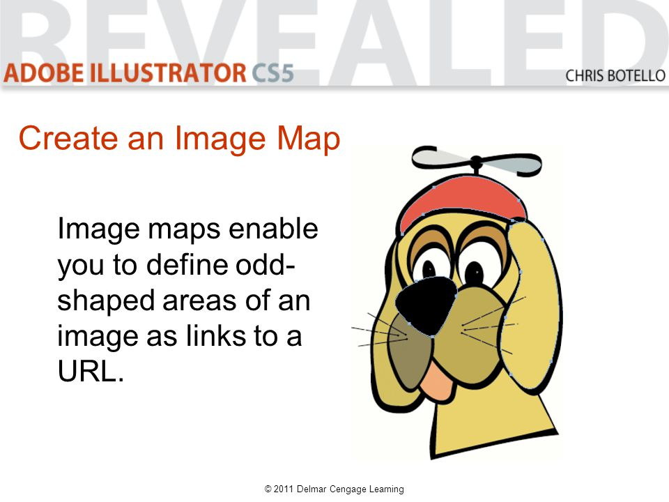 Create an Image Map © 2011 Delmar Cengage Learning Image maps enable you to define odd- shaped areas of an image as links to a URL.