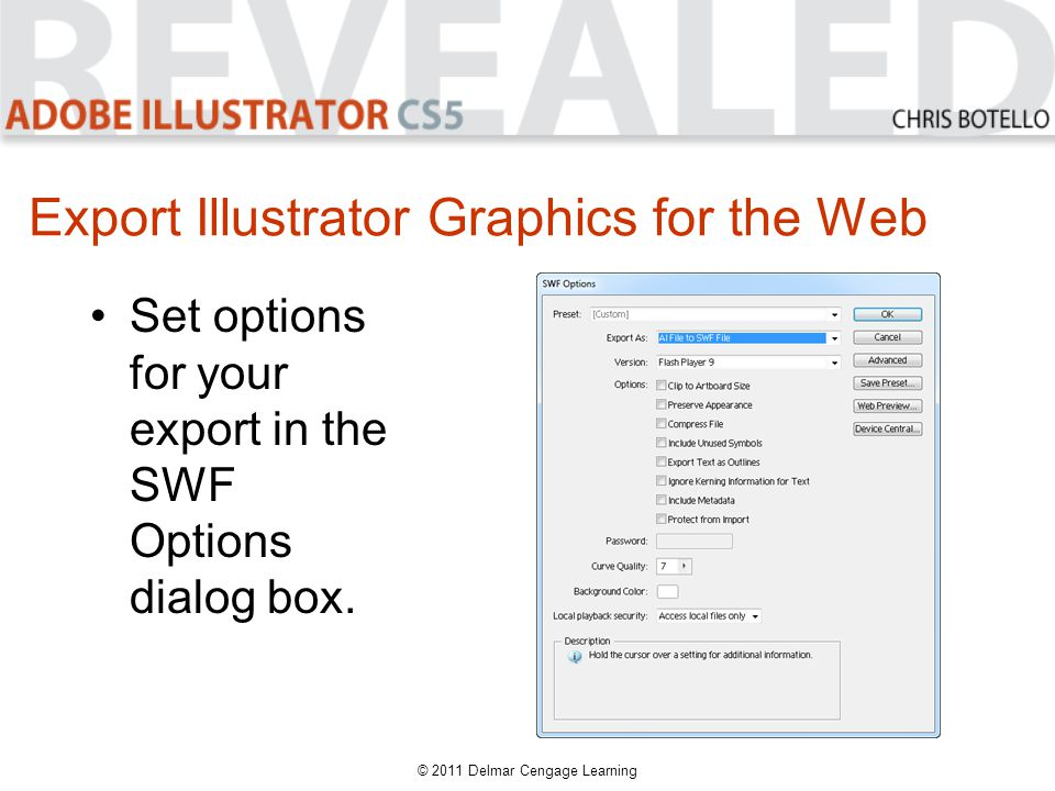 Export Illustrator Graphics for the Web Set options for your export in the SWF Options dialog box.