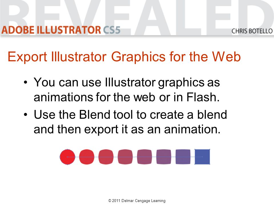 Export Illustrator Graphics for the Web You can use Illustrator graphics as animations for the web or in Flash.
