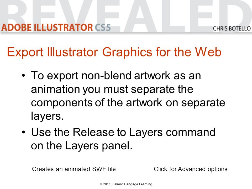 Export Illustrator Graphics for the Web To export non-blend artwork as an animation you must separate the components of the artwork on separate layers.