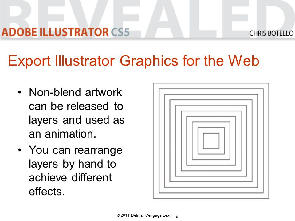 Export Illustrator Graphics for the Web Non-blend artwork can be released to layers and used as an animation.