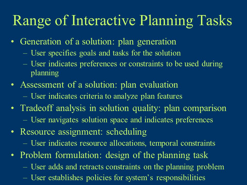 Range of Interactive Planning Tasks Generation of a solution: plan generation –User specifies goals and tasks for the solution –User indicates preferences or constraints to be used during planning Assessment of a solution: plan evaluation –User indicates criteria to analyze plan features Tradeoff analysis in solution quality: plan comparison –User navigates solution space and indicates preferences Resource assignment: scheduling –User indicates resource allocations, temporal constraints Problem formulation: design of the planning task –User adds and retracts constraints on the planning problem –User establishes policies for system's responsibilities