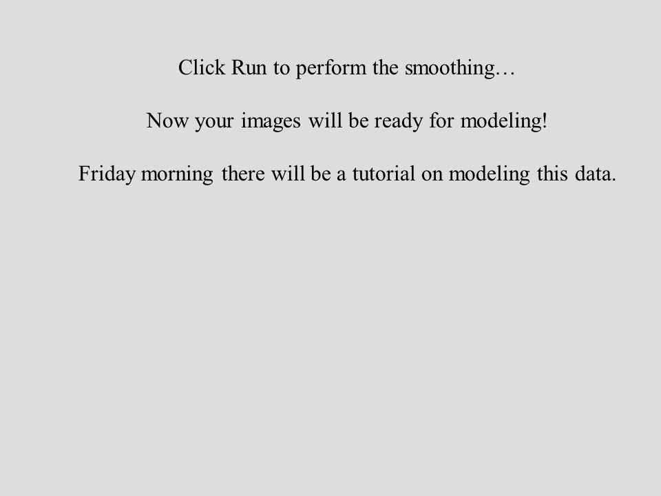 Click Run to perform the smoothing… Now your images will be ready for modeling.