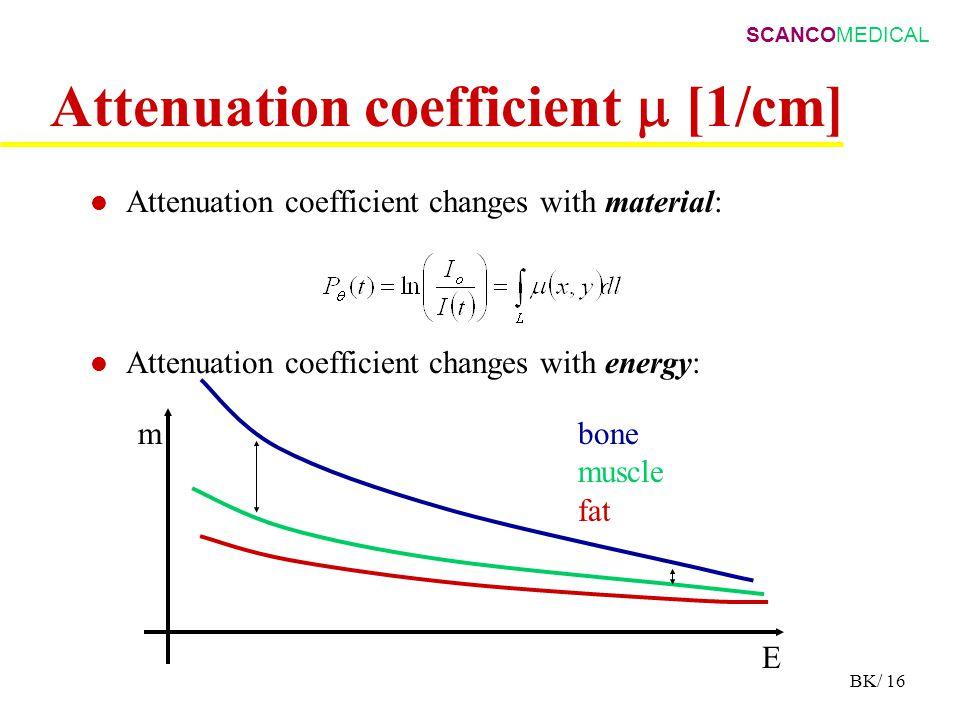 SCANCOMEDICAL BK/ 16 Attenuation coefficient  [1/cm] Attenuation coefficient changes with material: Attenuation coefficient changes with energy: bone
