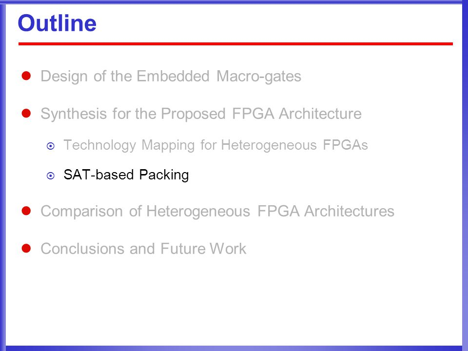 Outline Design of the Embedded Macro-gates Synthesis for the Proposed FPGA Architecture  Technology Mapping for Heterogeneous FPGAs  SAT-based Packing Comparison of Heterogeneous FPGA Architectures Conclusions and Future Work