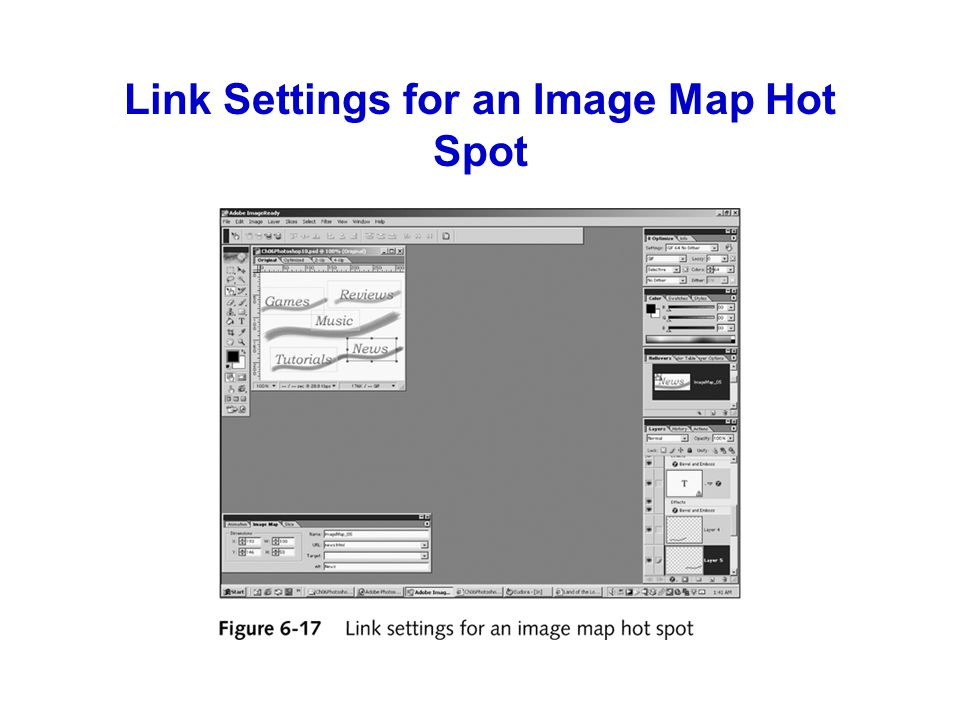 Link Settings for an Image Map Hot Spot