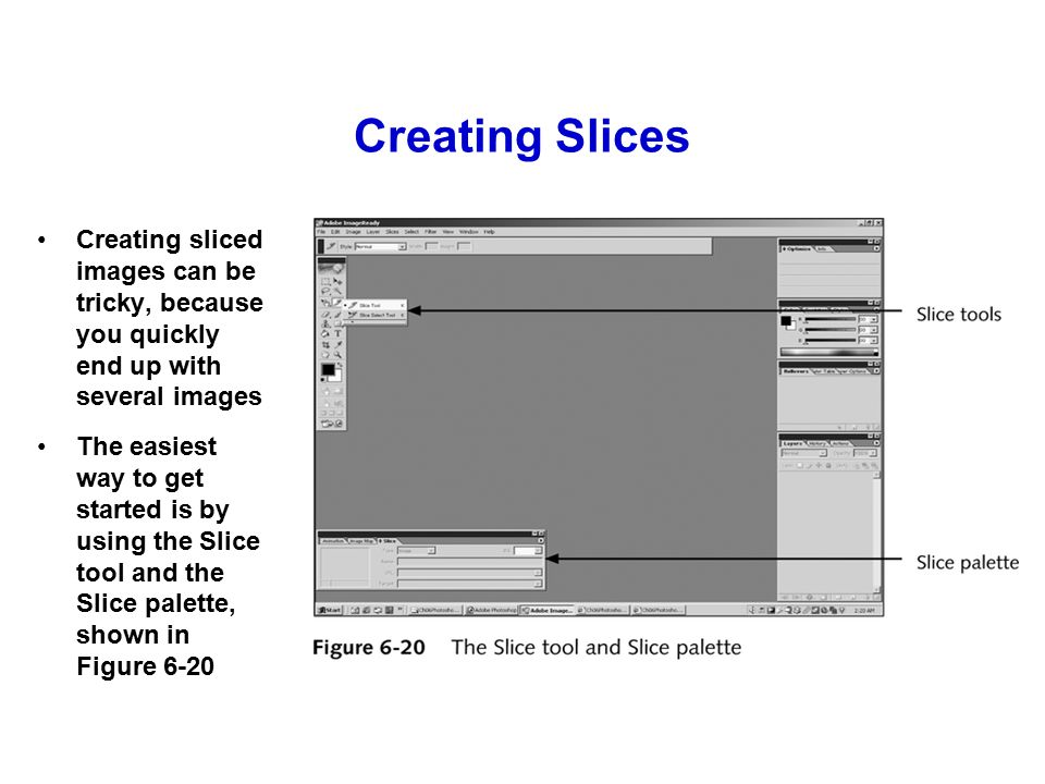 Creating Slices Creating sliced images can be tricky, because you quickly end up with several images The easiest way to get started is by using the Slice tool and the Slice palette, shown in Figure 6-20