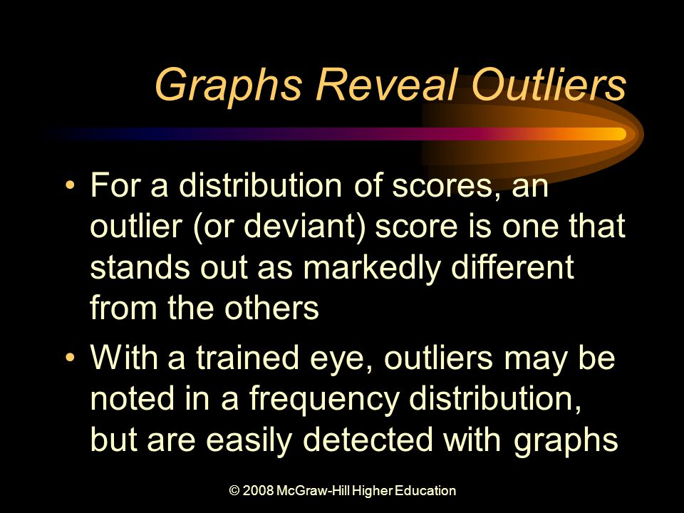 © 2008 McGraw-Hill Higher Education Graphs Reveal Outliers For a distribution of scores, an outlier (or deviant) score is one that stands out as markedly different from the others With a trained eye, outliers may be noted in a frequency distribution, but are easily detected with graphs