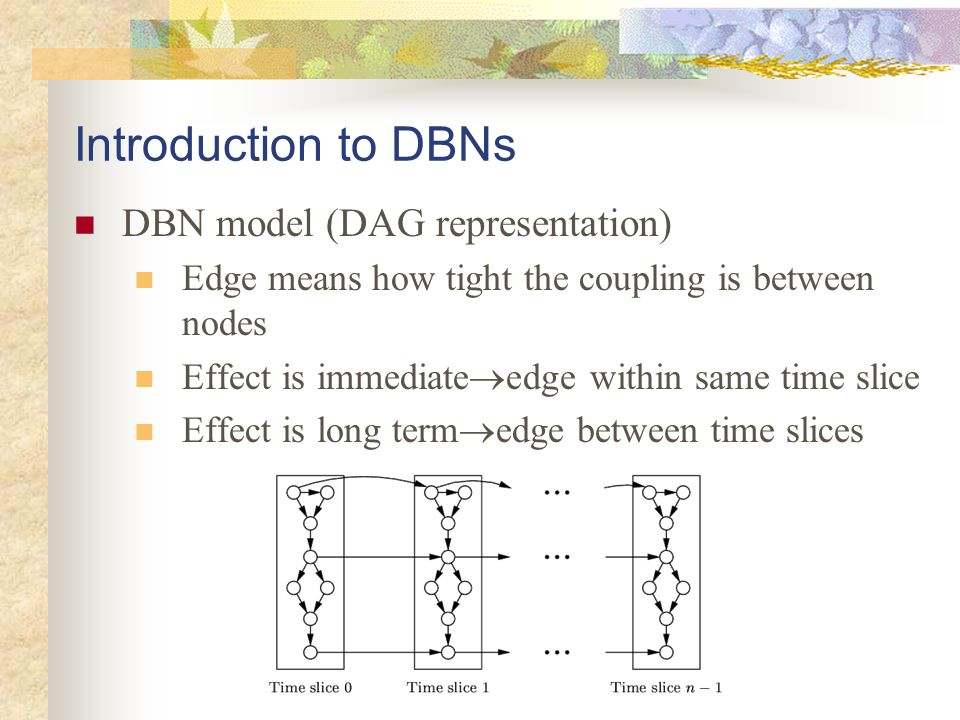 Introduction to DBNs DBN model (DAG representation) Edge means how tight the coupling is between nodes Effect is immediate  edge within same time sli