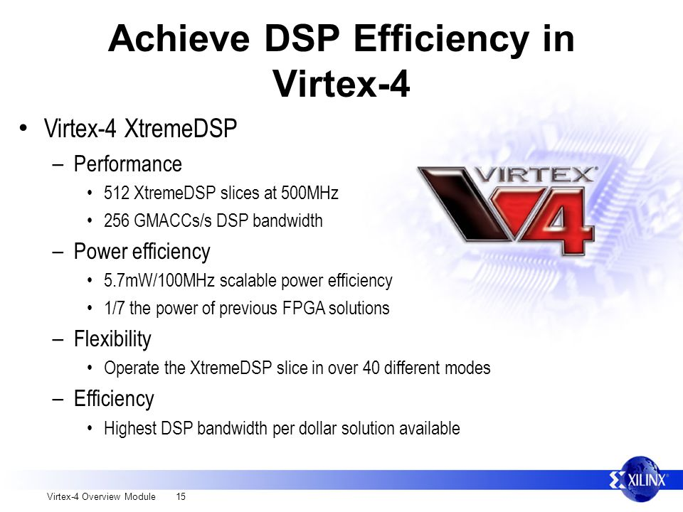 Virtex-4 Overview Module 15 Achieve DSP Efficiency in Virtex-4 Virtex-4 XtremeDSP – Performance 512 XtremeDSP slices at 500MHz 256 GMACCs/s DSP bandwidth – Power efficiency 5.7mW/100MHz scalable power efficiency 1/7 the power of previous FPGA solutions – Flexibility Operate the XtremeDSP slice in over 40 different modes – Efficiency Highest DSP bandwidth per dollar solution available