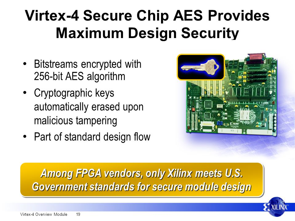 Virtex-4 Overview Module 19 Virtex-4 Secure Chip AES Provides Maximum Design Security Bitstreams encrypted with 256-bit AES algorithm Cryptographic keys automatically erased upon malicious tampering Part of standard design flow Among FPGA vendors, only Xilinx meets U.S.