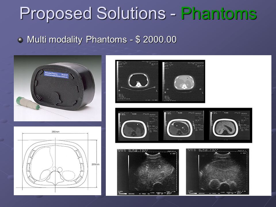 Proposed Solutions - Phantoms Multi modality Phantoms - $ 2000.00