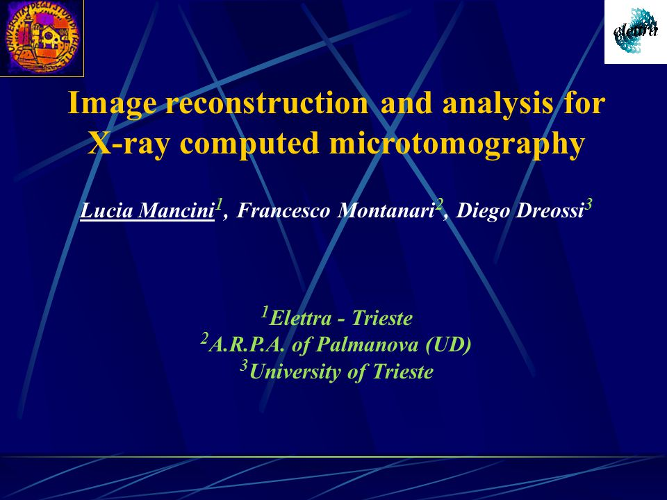 Image reconstruction and analysis for X-ray computed microtomography Lucia Mancini 1, Francesco Montanari 2, Diego Dreossi 3 1 Elettra - Trieste 2 A.R.P.A.