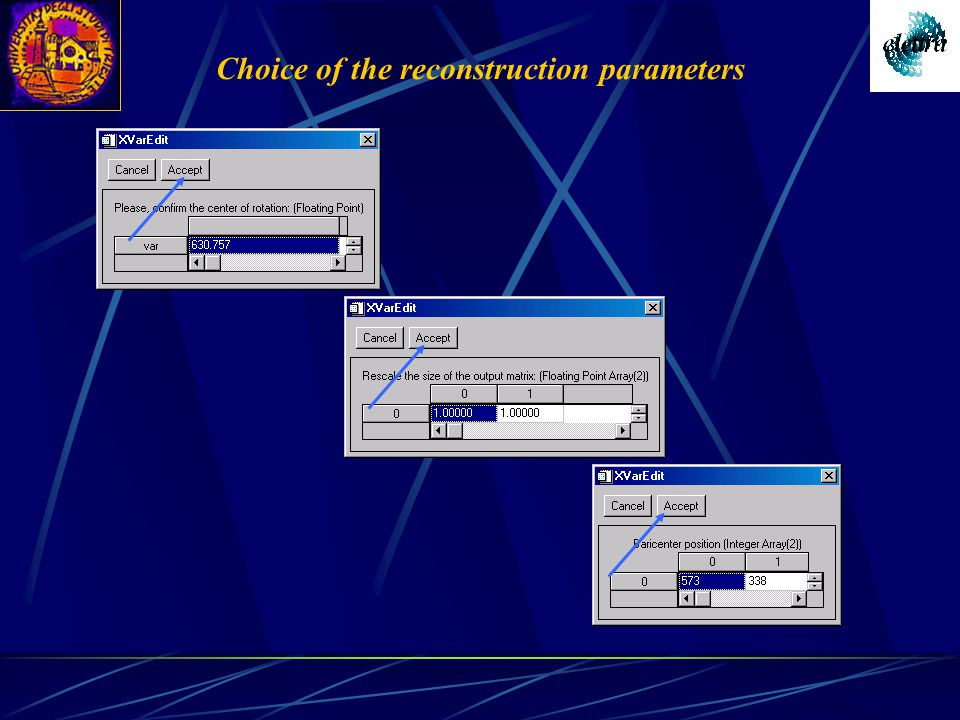Choice of the reconstruction parameters
