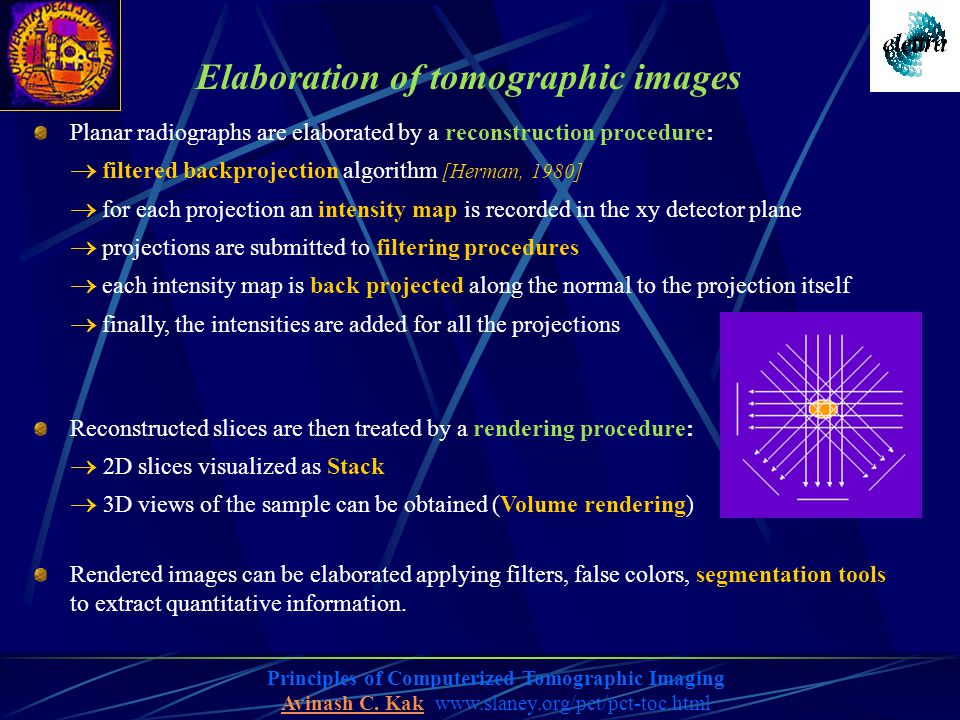 Elaboration of tomographic images Planar radiographs are elaborated by a reconstruction procedure:  filtered backprojection algorithm [Herman, 1980]  for each projection an intensity map is recorded in the xy detector plane  projections are submitted to filtering procedures  each intensity map is back projected along the normal to the projection itself  finally, the intensities are added for all the projections Reconstructed slices are then treated by a rendering procedure:  2D slices visualized as Stack  3D views of the sample can be obtained (Volume rendering) Rendered images can be elaborated applying filters, false colors, segmentation tools to extract quantitative information.