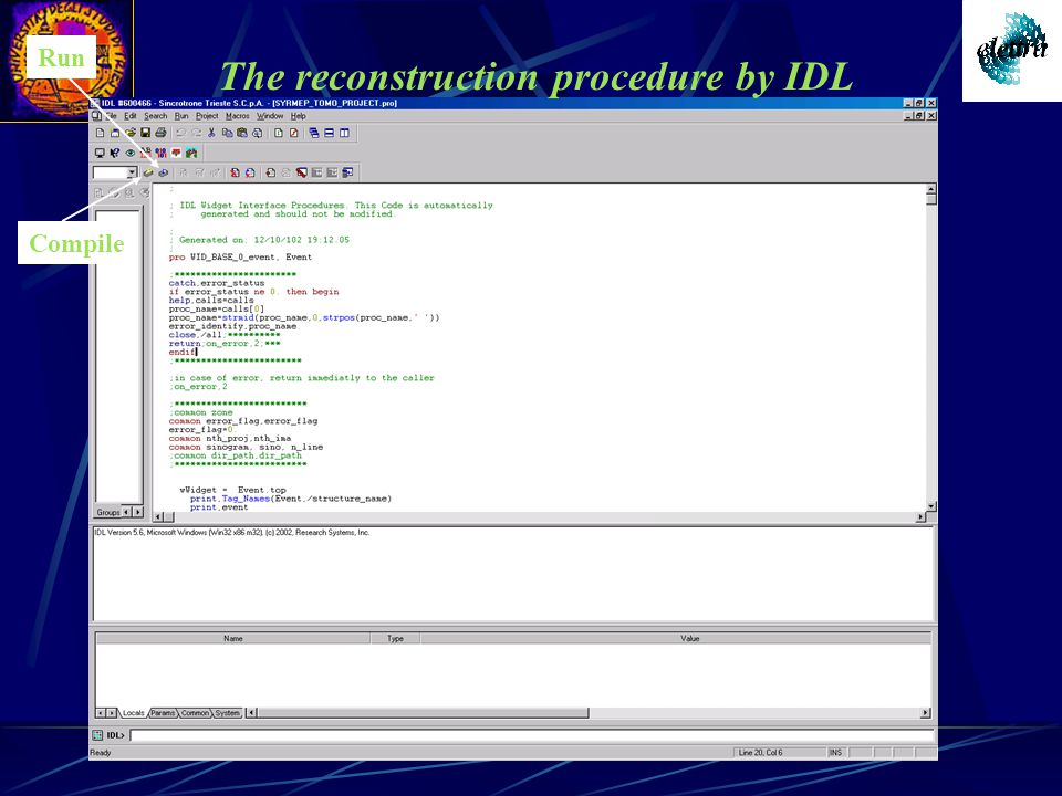 The reconstruction procedure by IDL Compile Run