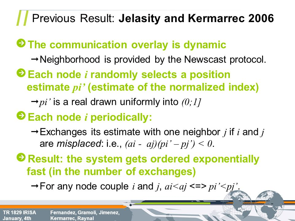 TR 1829 IRISA January, 4th Fernandez, Gramoli, Jimenez, Kermarrec, Raynal Previous Result: Jelasity and Kermarrec 2006 The communication overlay is dy