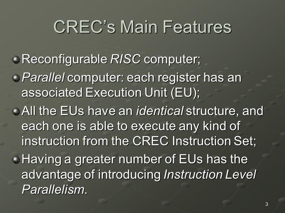 3 CREC's Main Features Reconfigurable RISC computer; Parallel computer: each register has an associated Execution Unit (EU); All the EUs have an ident
