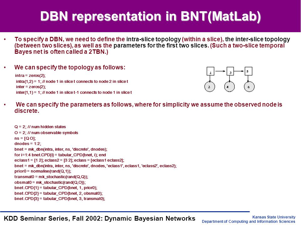 Kansas State University Department of Computing and Information Sciences KDD Seminar Series, Fall 2002: Dynamic Bayesian Networks DBN representation in BNT(MatLab) To specify a DBN, we need to define the intra-slice topology (within a slice), the inter-slice topology (between two slices), as well as the parameters for the first two slices.