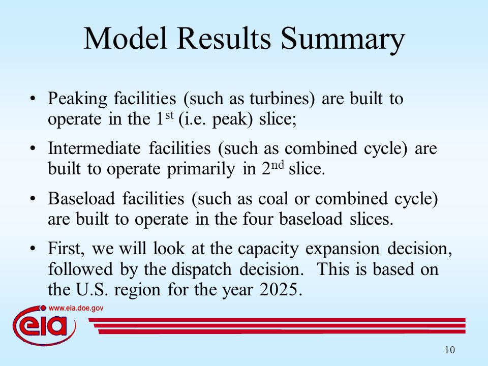 10 Model Results Summary Peaking facilities (such as turbines) are built to operate in the 1 st (i.e.