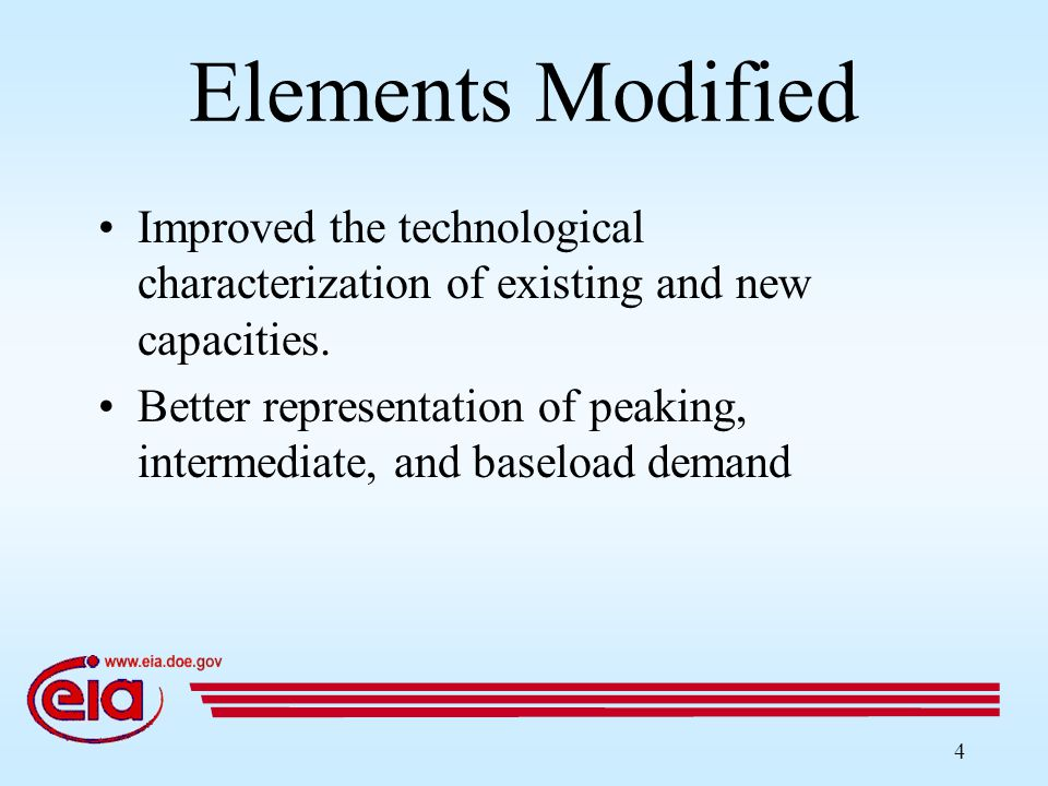 4 Elements Modified Improved the technological characterization of existing and new capacities.