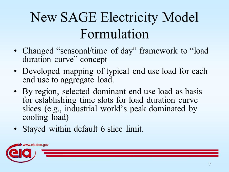 7 New SAGE Electricity Model Formulation Changed seasonal/time of day framework to load duration curve concept Developed mapping of typical end use load for each end use to aggregate load.