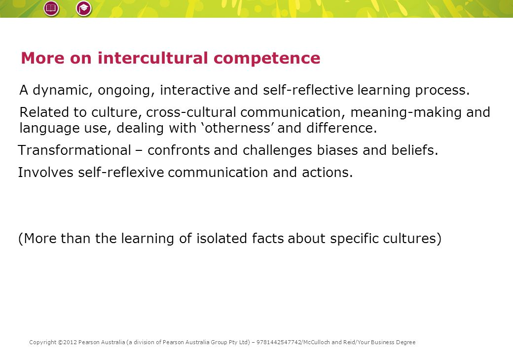 Replace with slice from book cover – height = 1cm More on intercultural competence A dynamic, ongoing, interactive and self-reflective learning process.