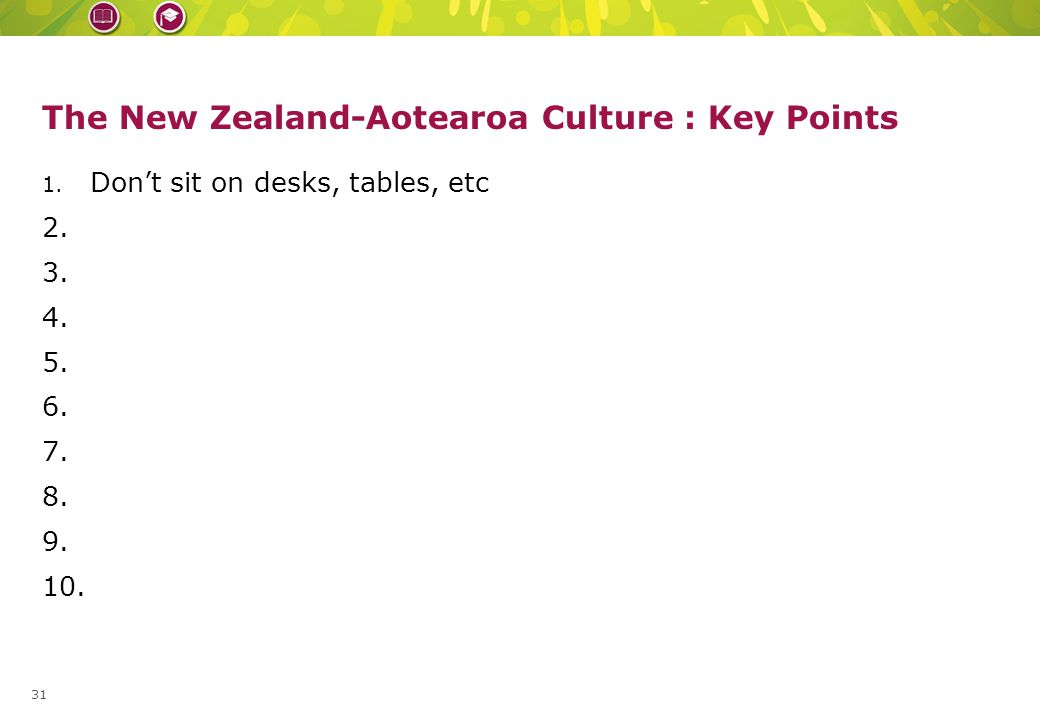 Replace with slice from book cover – height = 1cm The New Zealand-Aotearoa Culture : Key Points 1.