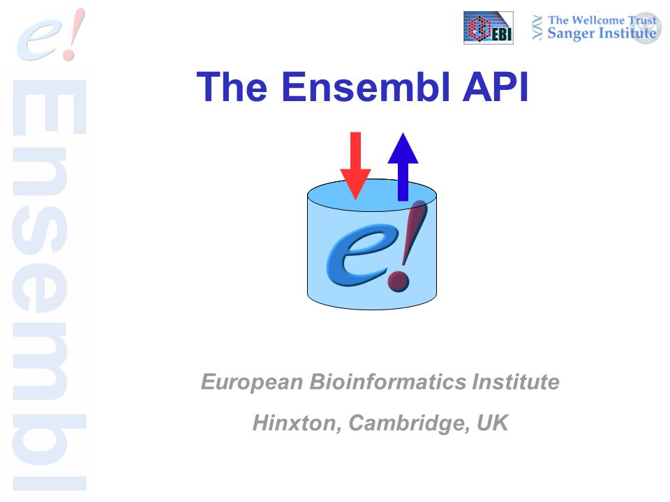 The Ensembl API European Bioinformatics Institute Hinxton, Cambridge, UK