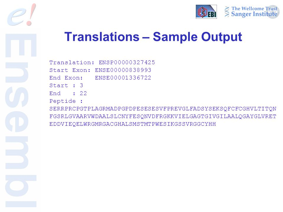 Translations – Sample Output Translation: ENSP00000327425 Start Exon: ENSE00000838993 End Exon: ENSE00001336722 Start : 3 End : 22 Peptide : SERRPRCPG