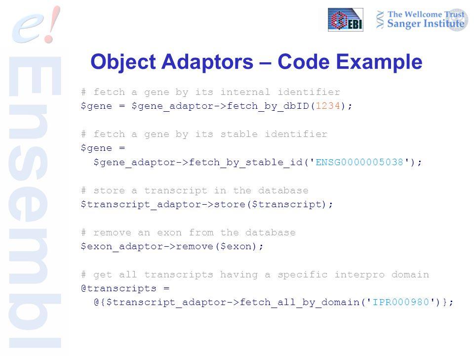 Object Adaptors – Code Example # fetch a gene by its internal identifier $gene = $gene_adaptor->fetch_by_dbID(1234); # fetch a gene by its stable identifier $gene = $gene_adaptor->fetch_by_stable_id( ENSG0000005038 ); # store a transcript in the database $transcript_adaptor->store($transcript); # remove an exon from the database $exon_adaptor->remove($exon); # get all transcripts having a specific interpro domain @transcripts = @{$transcript_adaptor->fetch_all_by_domain( IPR000980 )};