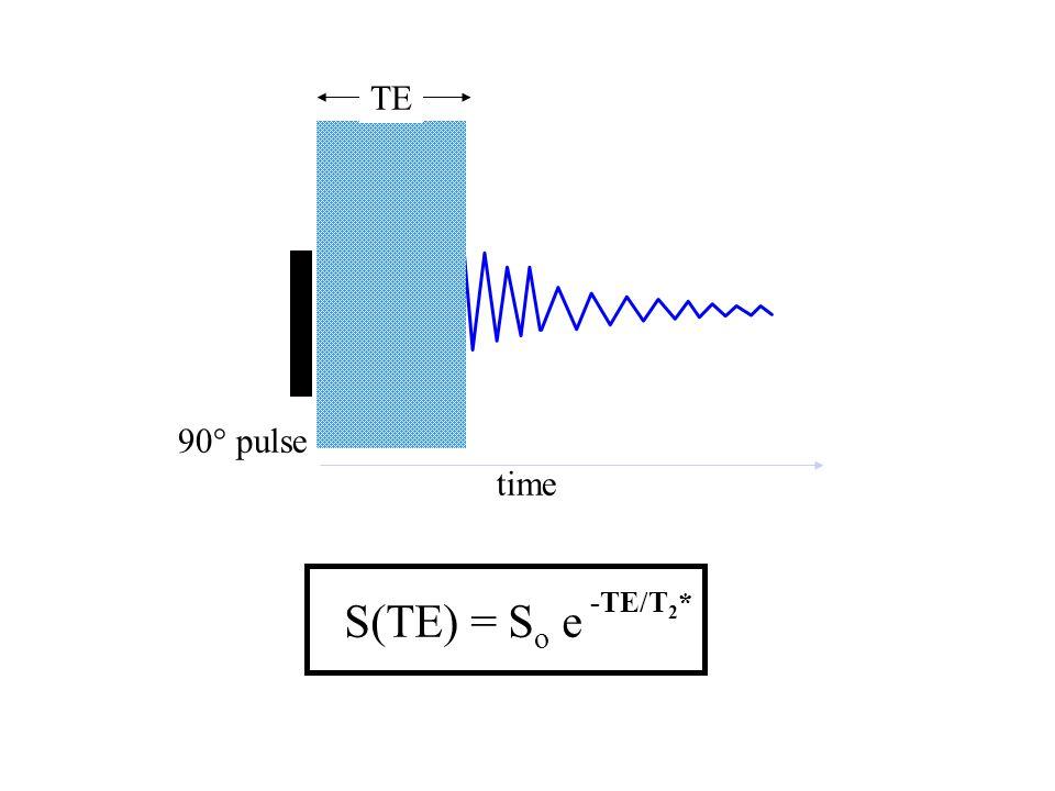 time TE S(TE) = S o e -TE/T 2 * 90° pulse