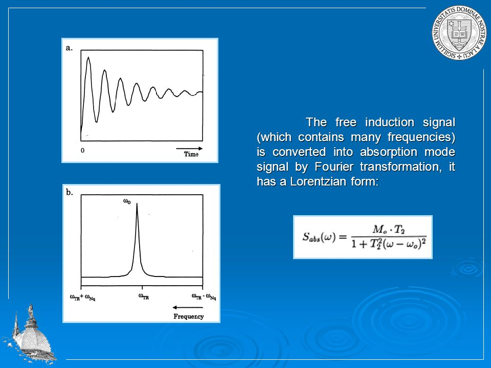The free induction signal (which contains many frequencies) is converted into absorption mode signal by Fourier transformation, it has a Lorentzian form: