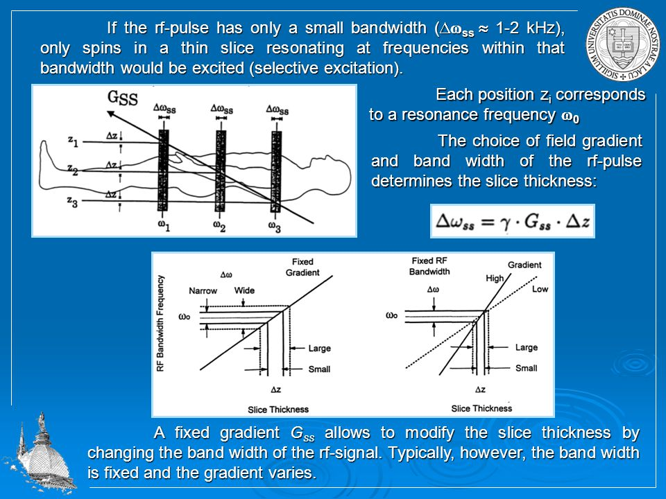 If the rf-pulse has only a small bandwidth (  ss  1-2 kHz), only spins in a thin slice resonating at frequencies within that bandwidth would be excited (selective excitation).