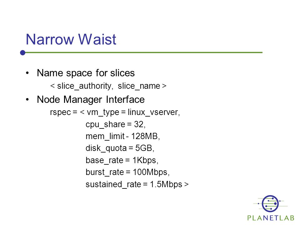 Narrow Waist Name space for slices Node Manager Interface rspec = < vm_type = linux_vserver, cpu_share = 32, mem_limit - 128MB, disk_quota = 5GB, base_rate = 1Kbps, burst_rate = 100Mbps, sustained_rate = 1.5Mbps >